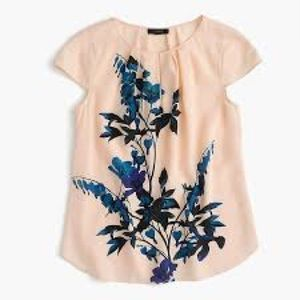 EUC J Crew Midnight Bloom Silk Floral Blouse